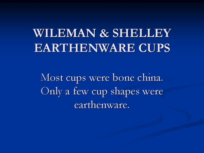 Title card - Earthenware Cups