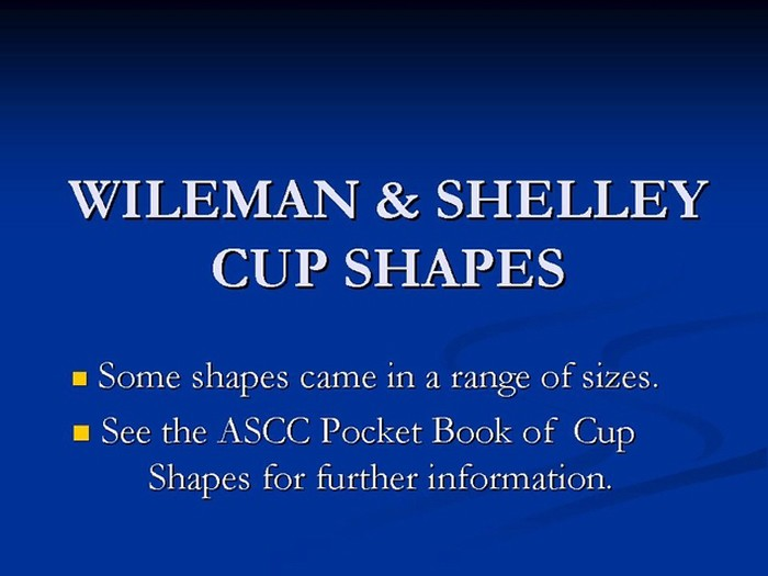 Title card - Wileman & Shelley Cup Shapes