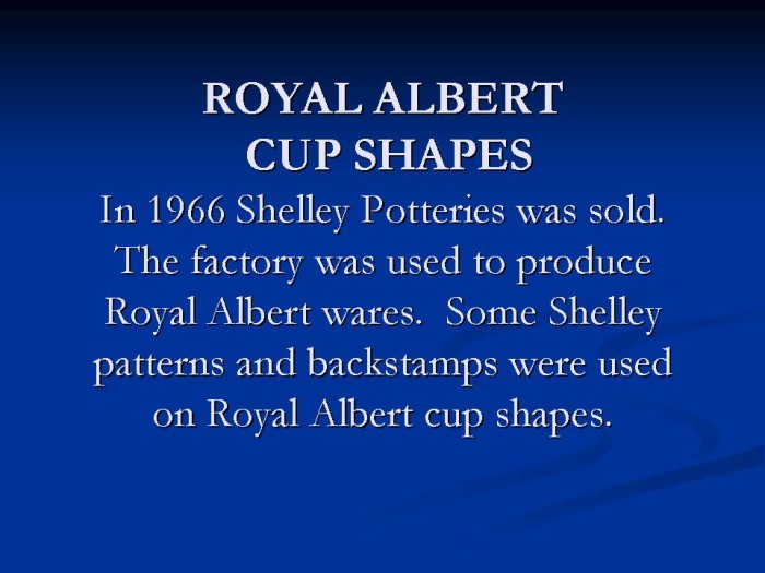 Title card - Royal Albert Cup Shapes